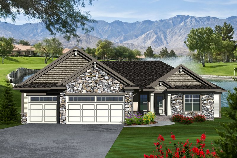 Home Plan - Ranch Exterior - Front Elevation Plan #70-1116