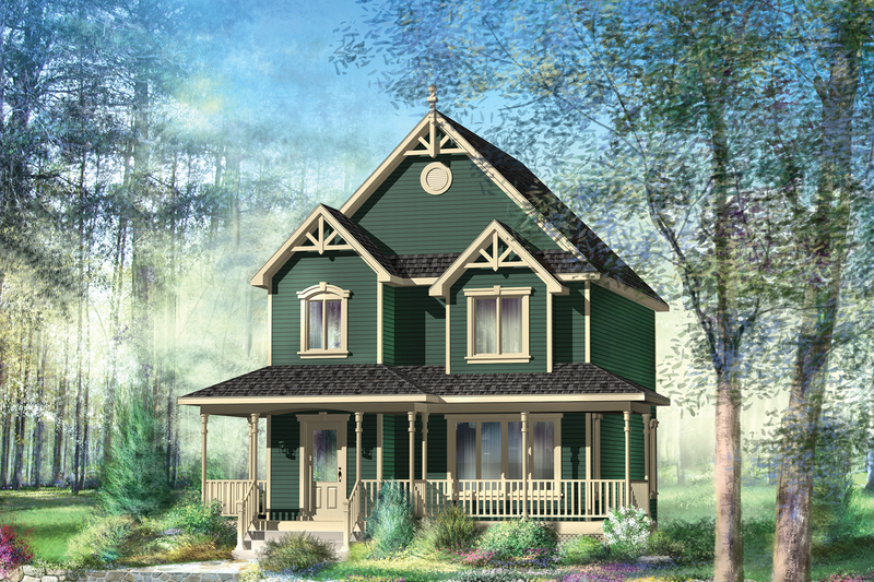 Country Style House Plan - 3 Beds 1 Baths 1314 Sq/Ft Plan #25-4475 Exterior - Front Elevation