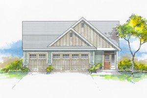 Craftsman Exterior - Front Elevation Plan #53-655