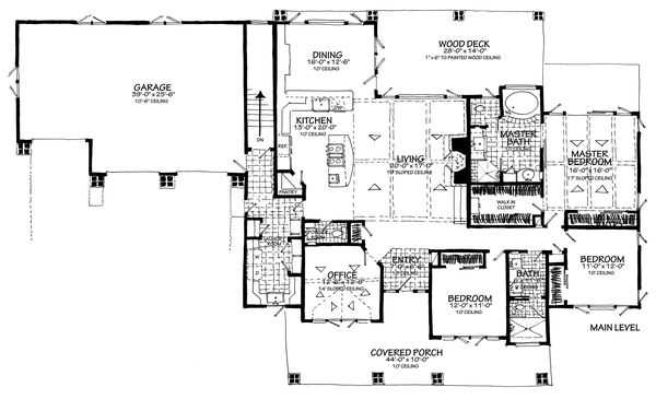 House Plan Design - Main Level 3 Car Front