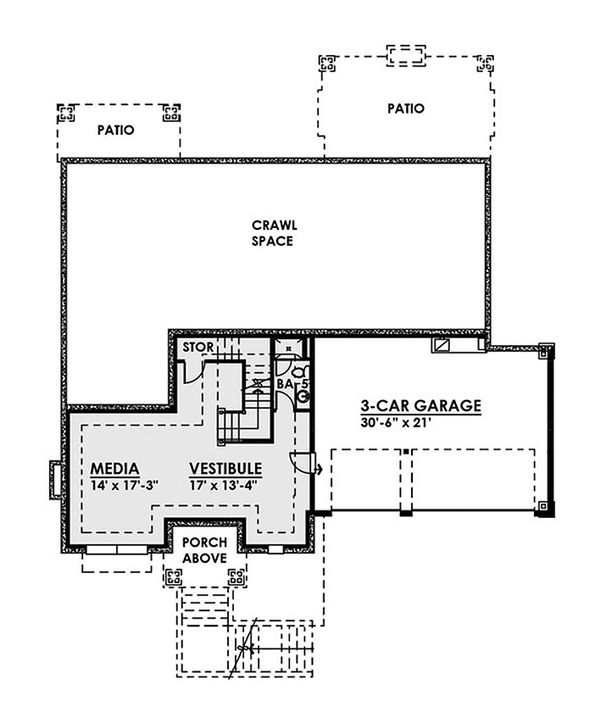 Contemporary Floor Plan - Lower Floor Plan Plan #1066-36