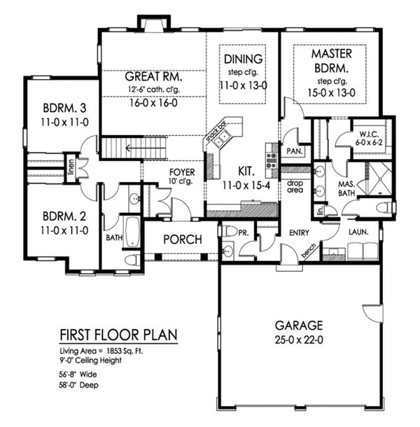 Ranch Floor Plan - Main Floor Plan Plan #1010-238