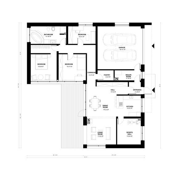Contemporary Floor Plan - Main Floor Plan Plan #906-11