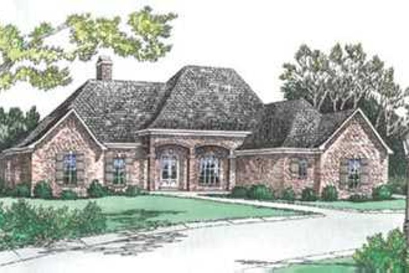 European Style House Plan - 4 Beds 3.5 Baths 3018 Sq/Ft Plan #15-144 Exterior - Front Elevation