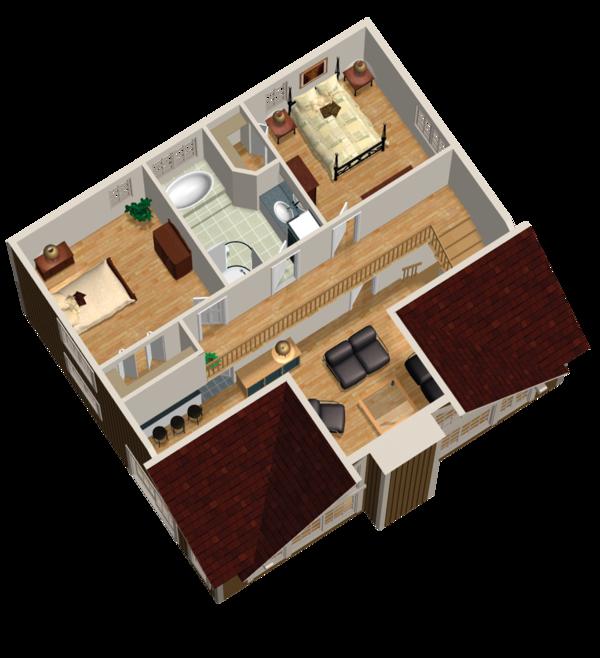 Cabin Floor Plan - Upper Floor Plan Plan #25-4587