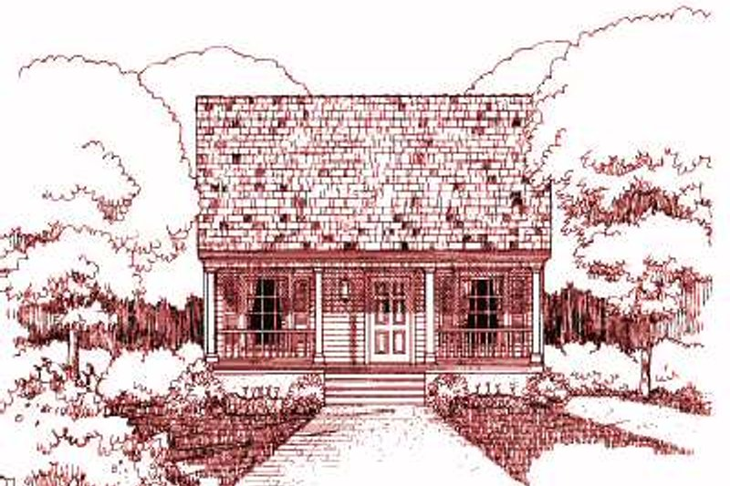 Cottage Style House Plan - 3 Beds 2 Baths 1092 Sq/Ft Plan #79-117 Exterior - Front Elevation