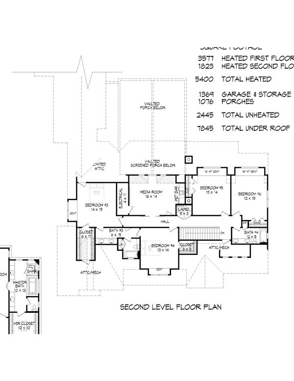 Country Floor Plan - Upper Floor Plan Plan #932-66
