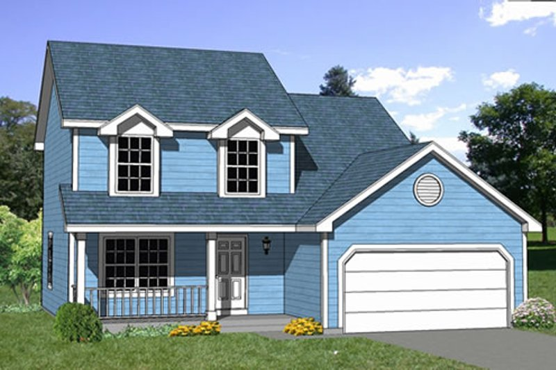 Traditional Style House Plan - 4 Beds 2.5 Baths 1505 Sq/Ft Plan #116-179 Exterior - Front Elevation