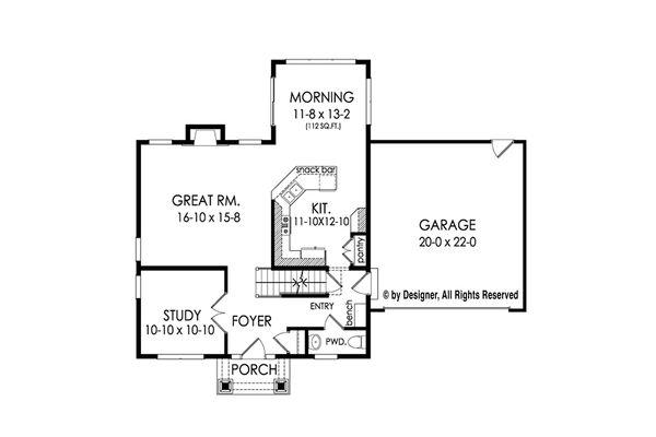 Colonial Floor Plan - Main Floor Plan Plan #1010-213