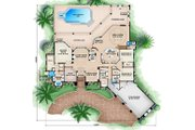 Mediterranean Style House Plan - 4 Beds 4.5 Baths 7398 Sq/Ft Plan #27-475 Floor Plan - Main Floor