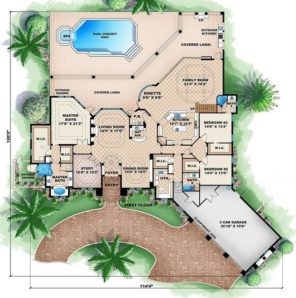 Mediterranean Floor Plan - Main Floor Plan #27-475
