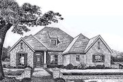 European Style House Plan - 4 Beds 3.5 Baths 2749 Sq/Ft Plan #310-863 Exterior - Front Elevation