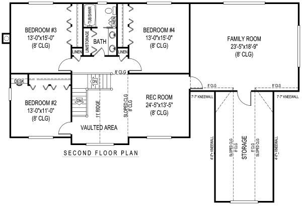 Country Floor Plan - Upper Floor Plan Plan #11-232