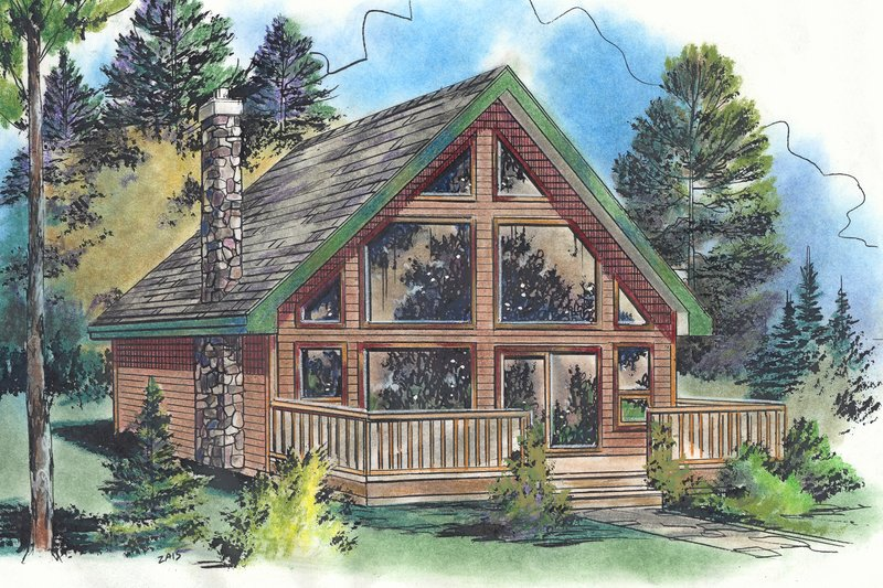 Cabin Style House Plan - 2 Beds 1 Baths 668 Sq/Ft Plan #18-4505 Exterior - Front Elevation