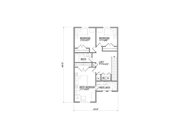 Traditional Floor Plan - Upper Floor Plan #116-305