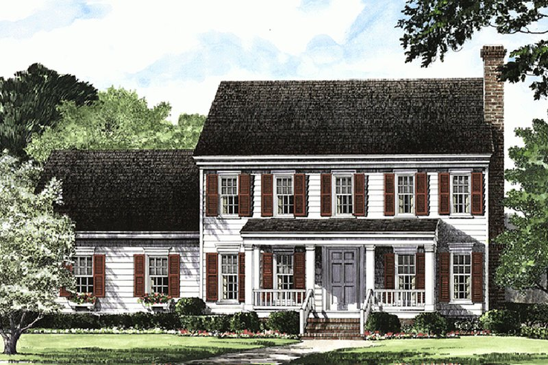 Architectural House Design - Colonial Exterior - Front Elevation Plan #137-183
