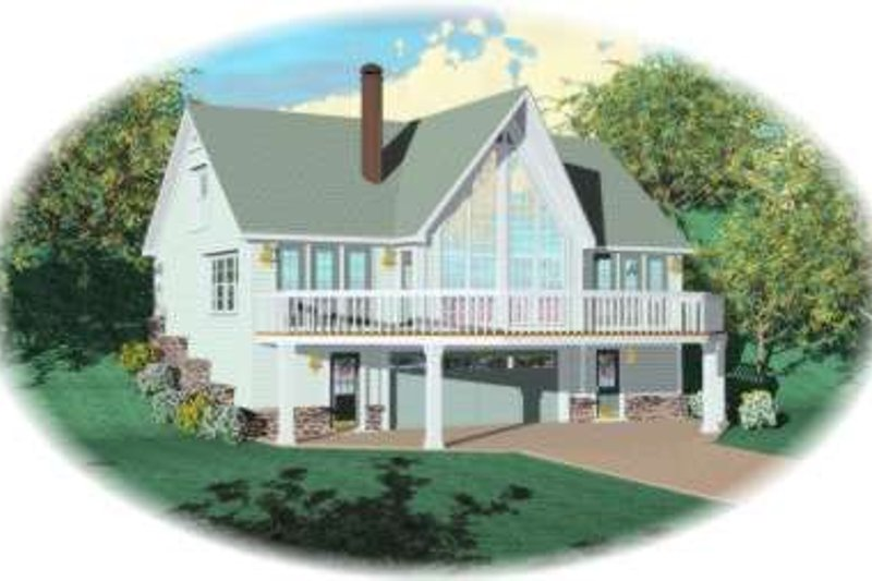 Cottage Style House Plan - 3 Beds 3 Baths 1280 Sq/Ft Plan #81-693 Exterior - Front Elevation