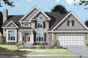 European Exterior - Front Elevation Plan #46-113