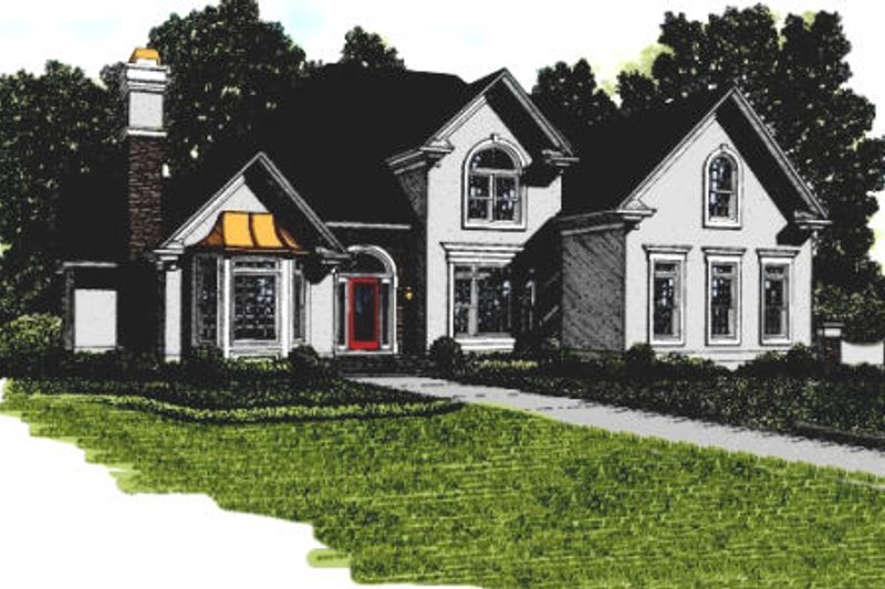 European Exterior - Front Elevation Plan #56-230