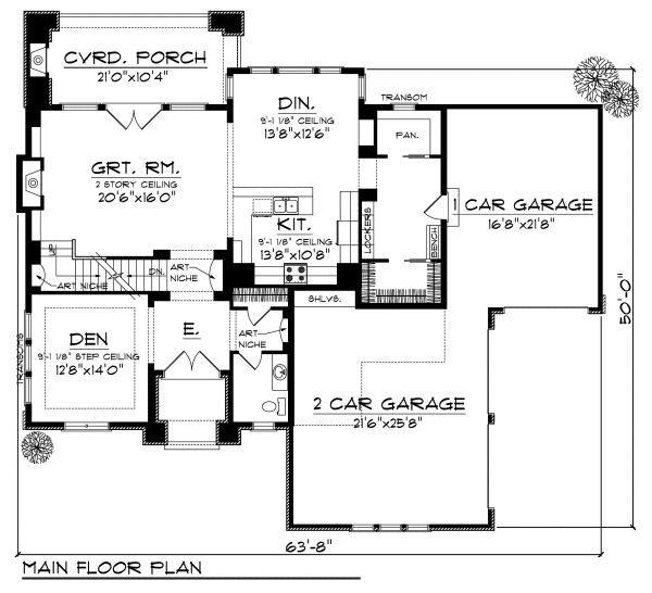 European Floor Plan - Main Floor Plan Plan #70-877