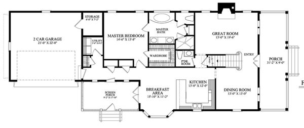 Southern Floor Plan - Main Floor Plan Plan #137-261