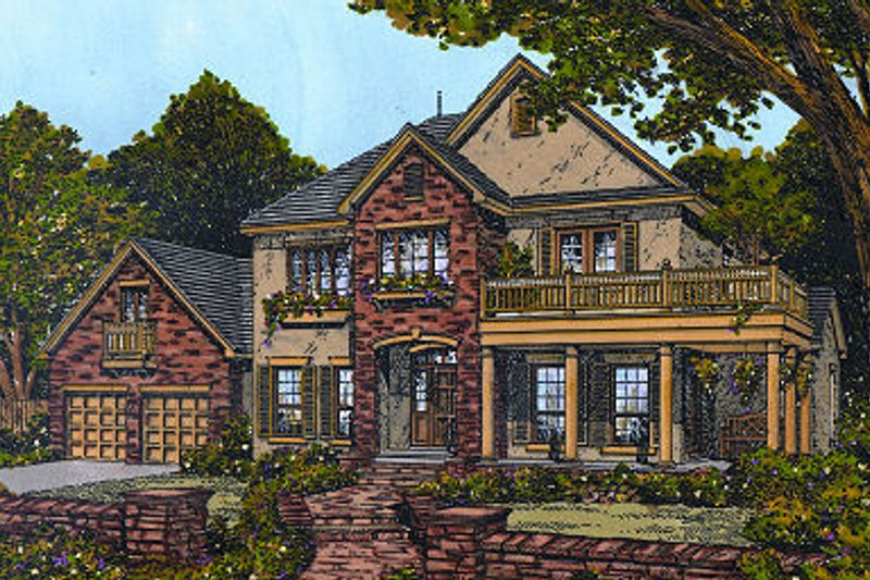 European Exterior - Front Elevation Plan #417-393