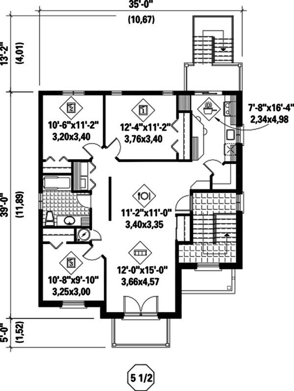 Contemporary Floor Plan - Upper Floor Plan Plan #25-4381