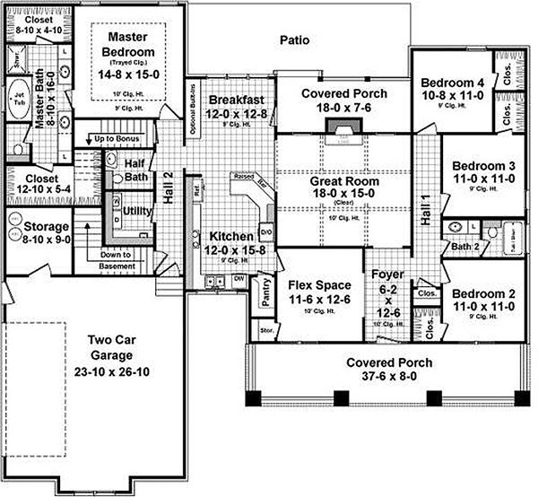 Craftsman Style House Plan 4 Beds 2 5 Baths 2233 Sq Ft