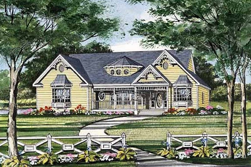 Victorian Style House Plan - 3 Beds 2.5 Baths 1466 Sq/Ft Plan #456-16 Exterior - Front Elevation