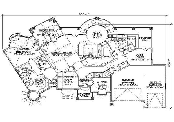 House Plan Design - European Floor Plan - Main Floor Plan #5-444