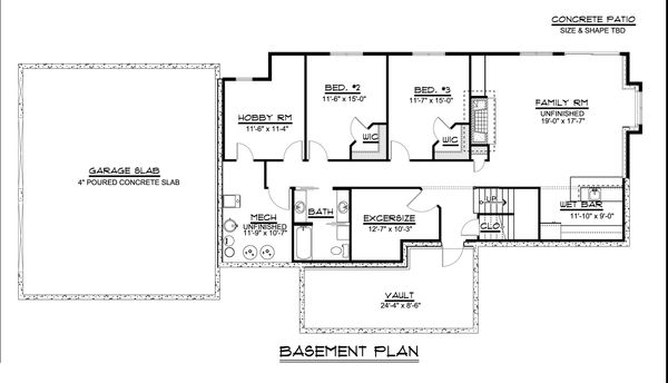 Ranch Floor Plan - Lower Floor Plan Plan #1064-31