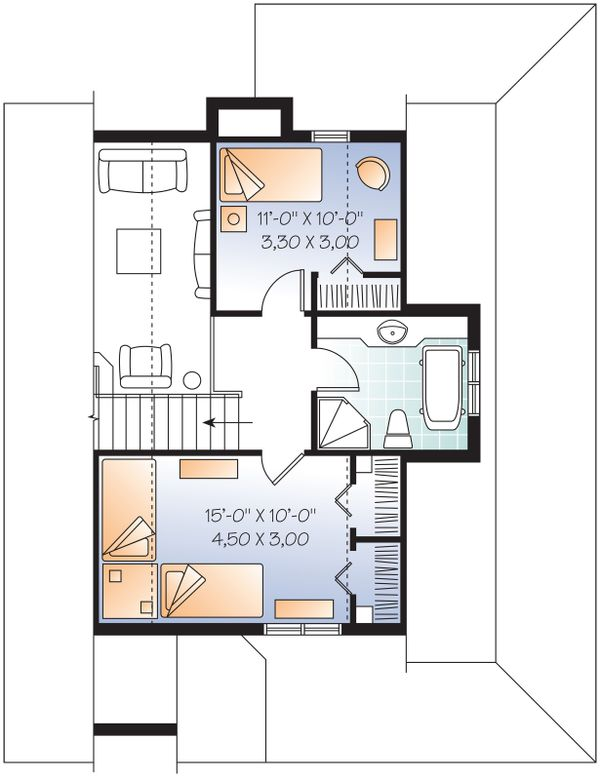 Upper Level Floor Plan - 1400 square foot cottage
