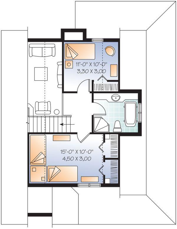 Cottage Style House Plan - 3 Beds 2 Baths 1370 Sq/Ft Plan #23-2295 Floor Plan - Upper Floor Plan