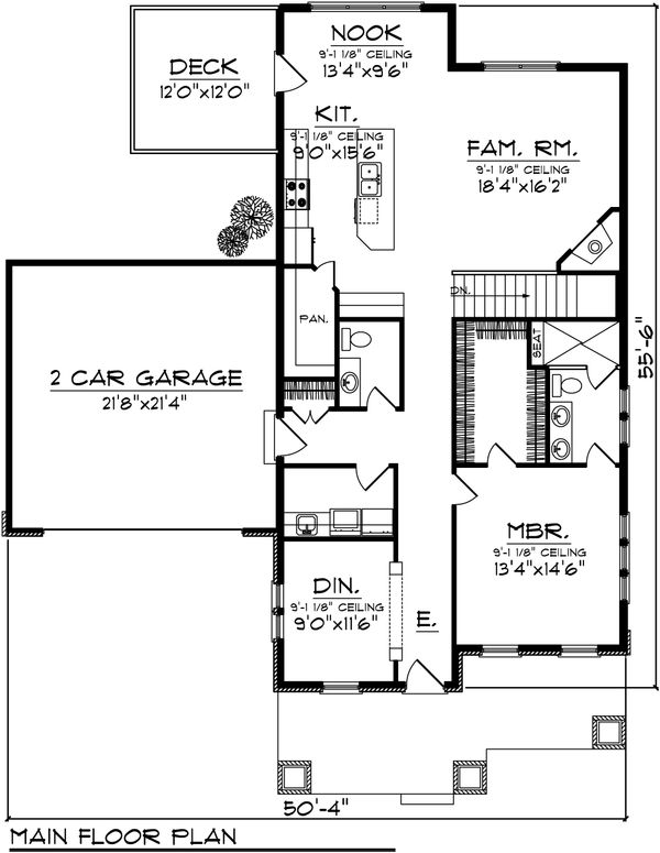 Craftsman Floor Plan - Main Floor Plan Plan #70-1021