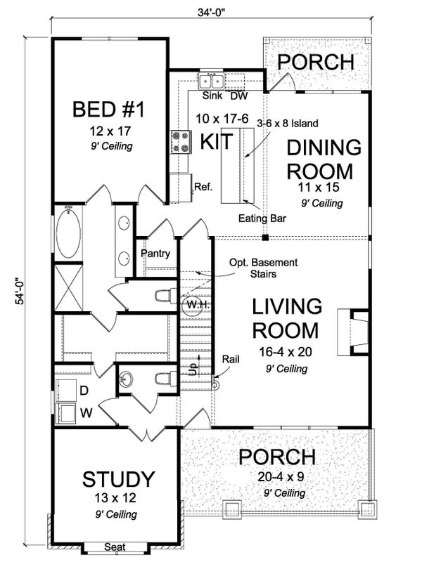Architectural House Design - Craftsman Floor Plan - Main Floor Plan #513-2169