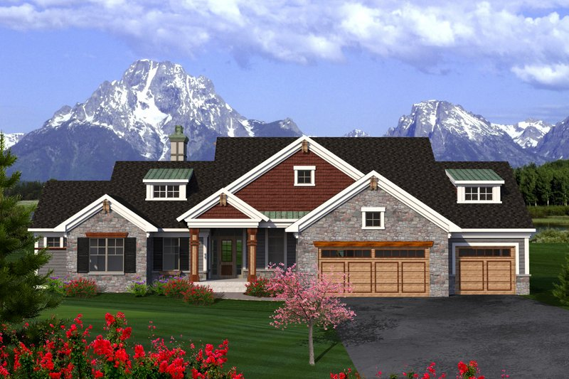 Ranch Exterior - Front Elevation Plan #70-1198