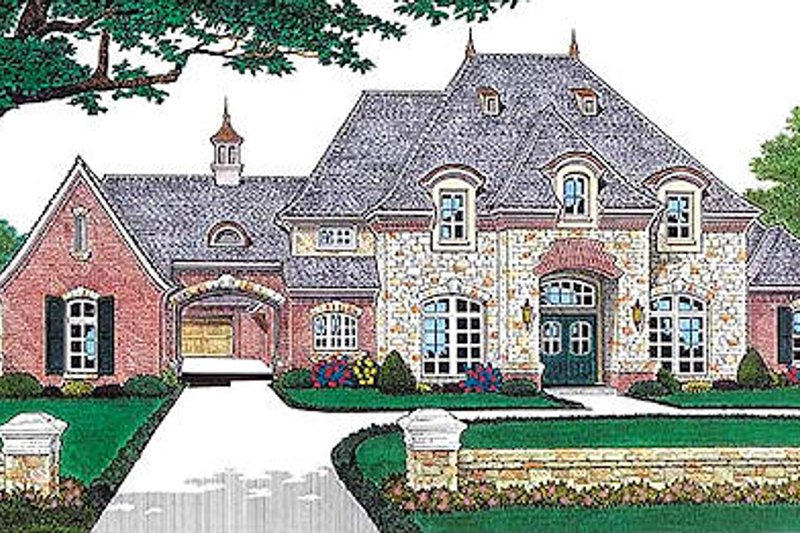 European Style House Plan - 4 Beds 4.5 Baths 3769 Sq/Ft Plan #310-554 Exterior - Front Elevation