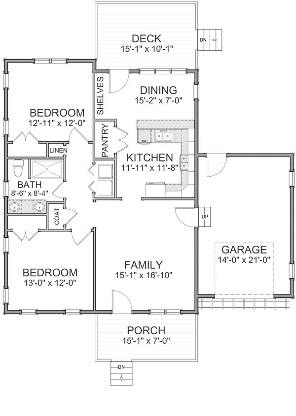 Cottage Floor Plan - Main Floor Plan Plan #898-25