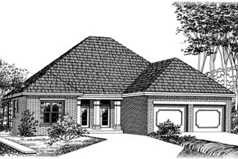 European Style House Plan - 3 Beds 2 Baths 2038 Sq/Ft Plan #15-137 Exterior - Front Elevation