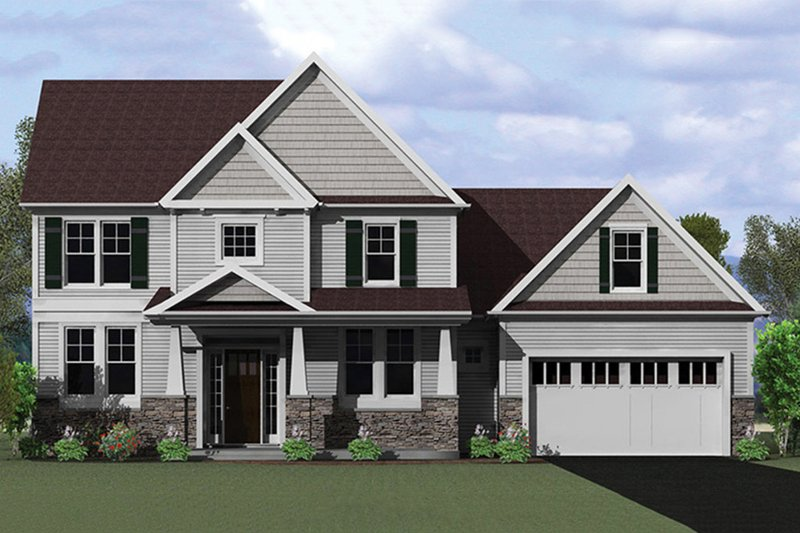 Craftsman Style House Plan - 3 Beds 2.5 Baths 2061 Sq/Ft Plan #1010-117 Exterior - Front Elevation