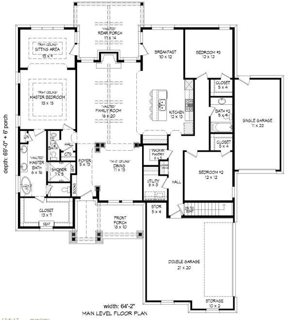 House Blueprint - Ranch Floor Plan - Main Floor Plan #932-353