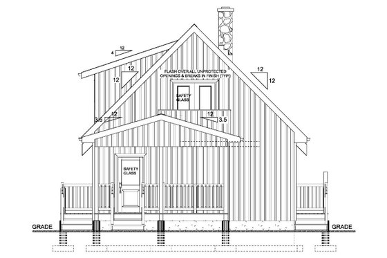 Cabin Exterior - Rear Elevation Plan #126-181