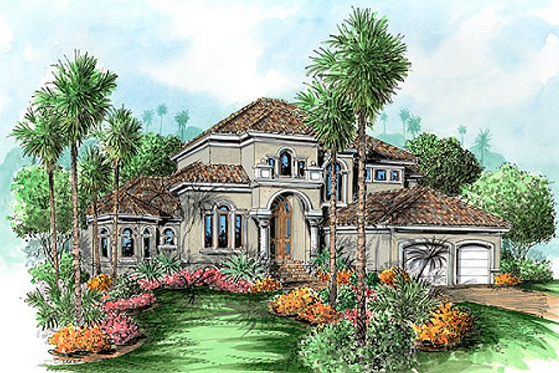 Mediterranean Style House Plan - 3 Beds 3 Baths 3005 Sq/Ft Plan #27-205 Exterior - Front Elevation