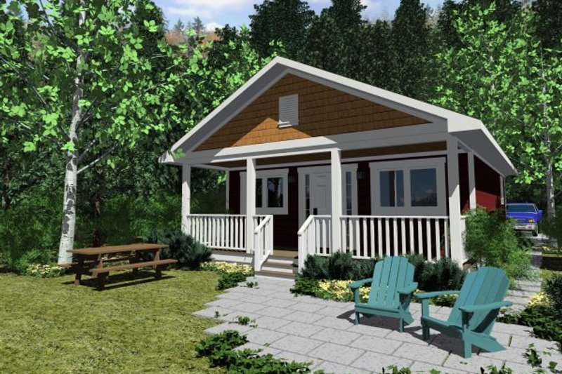 Cabin Style House Plan - 1 Beds 1 Baths 598 Sq/Ft Plan #126-149