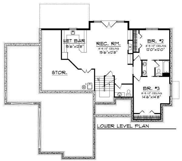 European Floor Plan - Lower Floor Plan Plan #70-881