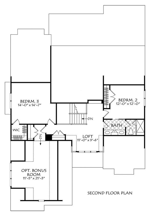 Farmhouse Floor Plan - Upper Floor Plan Plan #927-1006