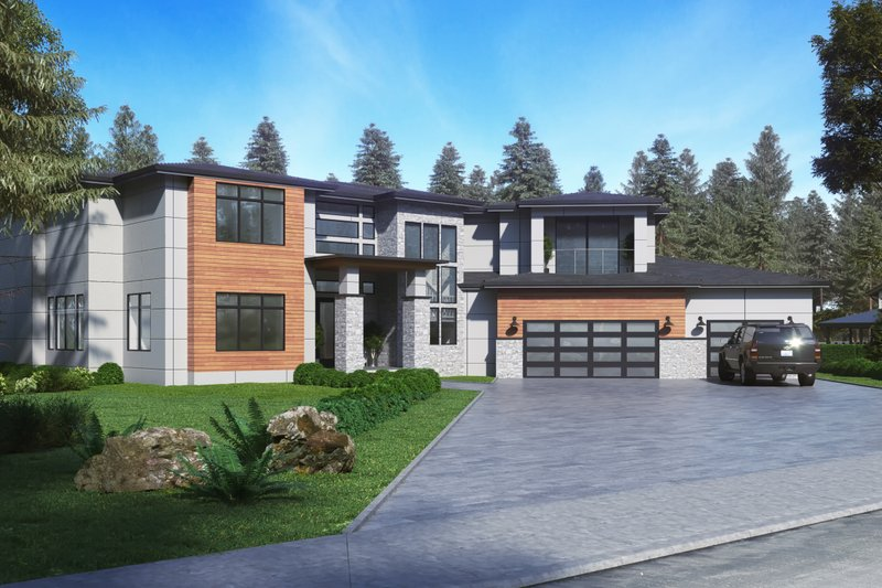 Contemporary Style House Plan - 5 Beds 4.5 Baths 5195 Sq/Ft Plan #1066-73 Exterior - Front Elevation