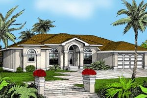 Mediterranean Exterior - Front Elevation Plan #95-113