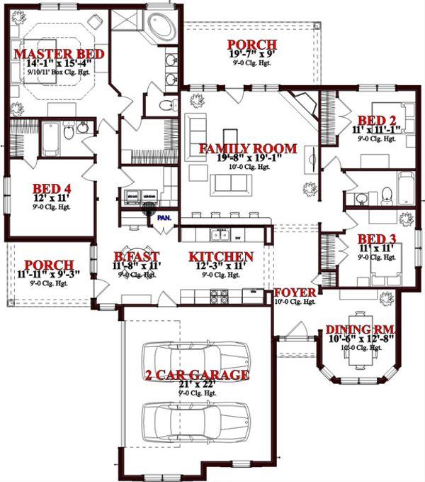 Traditional Floor Plan - Main Floor Plan Plan #63-306