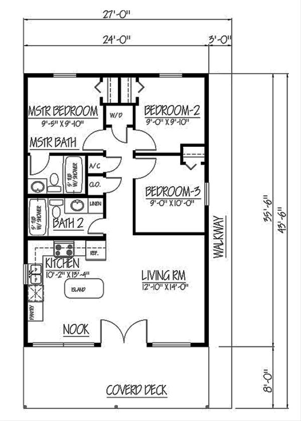 Cabin Floor Plan - Main Floor Plan Plan #1061-25
